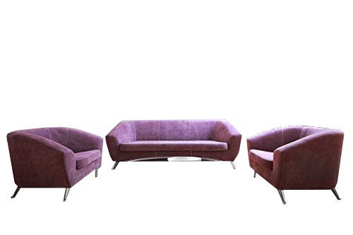 mb-moebel Polstergarnitur Sofa 3er & 2X Sessel 3-1-1 Möbel Set Violett Novum 311