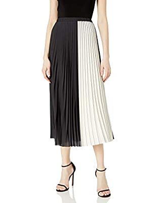 Anne Klein Women's Pleated Maxi Skirt, Anne Black/White, XS