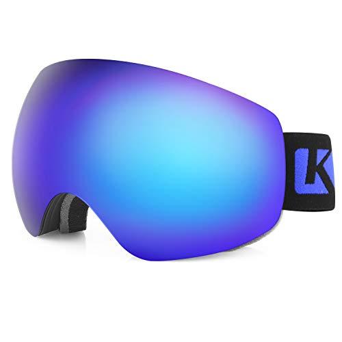 KUTOOK Skibrille Herren Damen Snowboard Brille Schneebrille Doppel-Objektiv Anti-Fog UV-Schutz OTG Rahmenlose TPU VLT Ski Goggles Für Snowboard Skifahren Blau Linsen