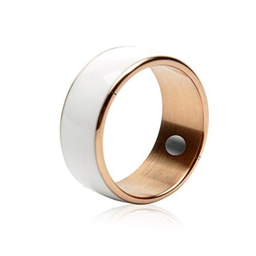 ZJH NFC Intelligent Ring, Wearable Anneaux De Doigts Magiques 7-12 Taille Smart Phone Accessoires Appropriés pour Téléphone Mobile NFC,Blanc,9