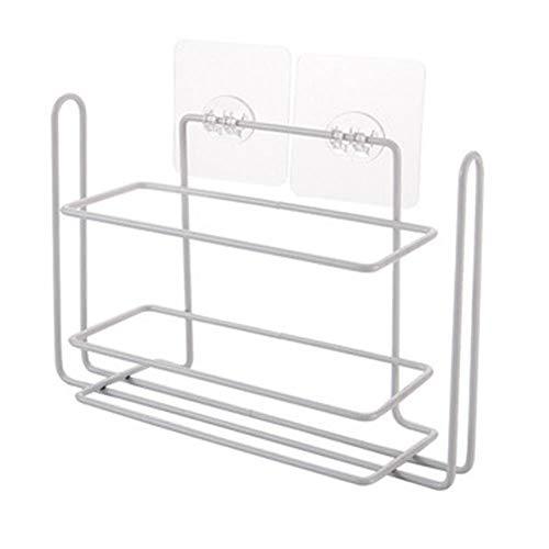 PABESAM Portarrollos de papel de cocina, estante montado en la pared, estante de especias sin agujeros, para cocina, 25 x 16 x 7,2 cm, color blanco