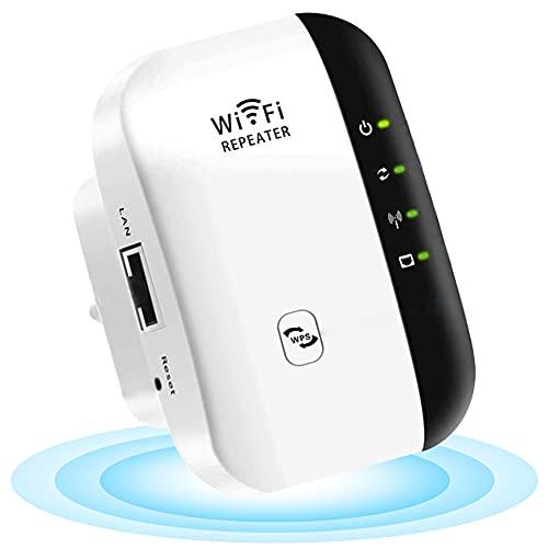 HOTSO Repetidores WiFi, Repetidor WiFi Range Extender WiFi Signal Booster 2.4GHz 300Mbps Mini Portátil Repetidor de Red Punto de Acceso Wi-Fi,Universal EU Enchufe,Puerto LAN,WPS