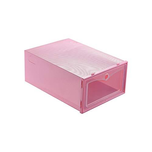 HYAN Zapatero Caja de Almacenamiento Plegable de Zapatos de plástico Organizador de Zapatos apilable de plástico Espesado Caja de cajón Transparente Zapato apilable Caja de Zapatos (Color : Pink)