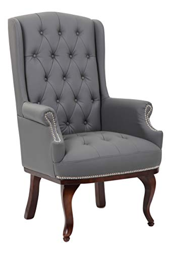 Angel Mobility Chesterfield Style Queen Anne Fireside Orthopedic Wing High Back Bonded Leather Armchair Arm Chair