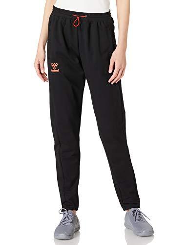 hummel Unisex-Adult hummel Action Cotton Pants SweatPants, Black/Fiesta, XL