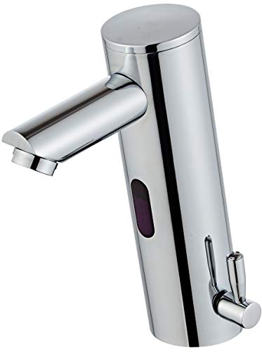 Luxice Deck Mount Touch Free Bathroom Automatic Sensor Sink Chrome Faucet with Temperature Control Handle