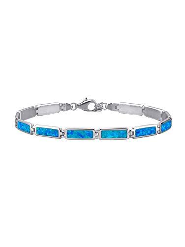 KLiNGEL Damen 925 Silber Armband mit Opal in Blau