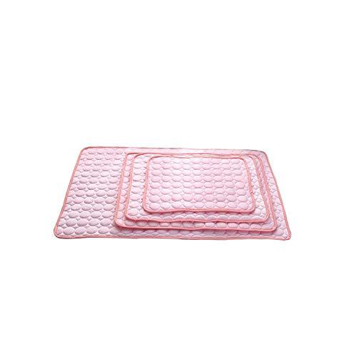 LIYONG Ropa cama para mascotas   Esteras refrigerantes para perros de verano, cama para perros pequeños, medianos y grandes, cojín para mascotas, colchón para gatos S/M/L/XL3-Rosa-70 x 56 cm, HLSJ