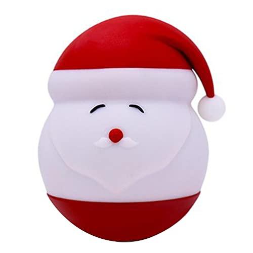 OSALADI Navidad de Silicona Santa Claus Noche Luz Navidad Bolas de Nieve Iluminadas con Santa Claus Sombrero LED Lámpara Portátil Calmante Dormir Luz para Niños Dormitorio Cumpleaños