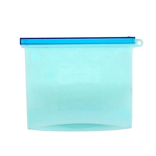Junlong-4pcs Coque en silicone Sac en plastique de stockage Sac scellé Chauffage alimentaire Sub-bagging bleu