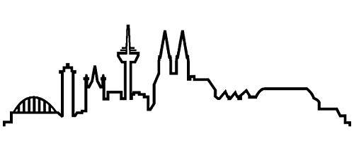 Samunshi® Köln Skyline Aufkleber Silhouette in 8 Größen und 25 Farben (15x4,4cm schwarz)