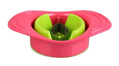 Fackelmann Mango-Entkerner TROPICAL, Mangoschneider aus Kunststoff mit Halteschale (Farbe: Grün/Koralle), Menge: 1 Stück