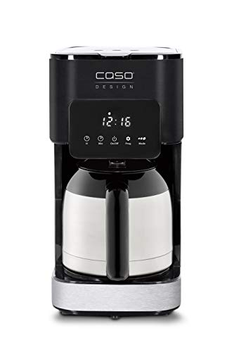 Caso Coffee Taste and Style Thermo - Kaffeemaschine mit Permanentfilter, 1,2 l, optimale Brühtemperatur 92-96 °C, Tropf-Stopp, optimierter Brühkopf, Isolierkanne, edelstahl, schwarz, 1847