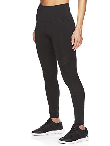 Reebok Women's High Rise Leggings Performance Compression Pants - Black Cosmos, X-Small