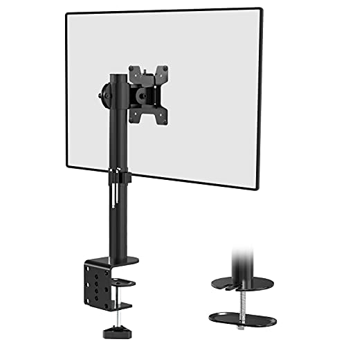 WALI Single LCD Monitor Desk Mount Fully Adjustable Desk Mount Fit 1 Screen up to 27 inch, 22 lbs. Weight Capacity (M001S), Black