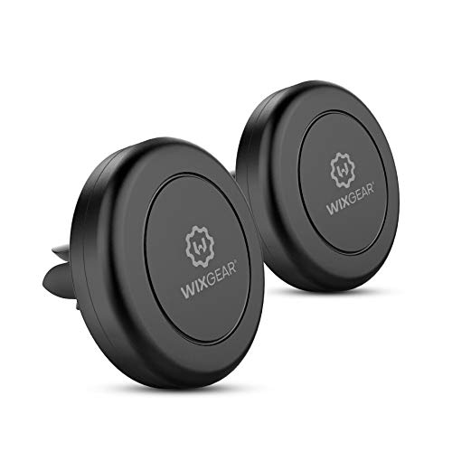 WixGear Magnetic Phone Car Mount, [2 Pack] Universal Air Vent Magnetic Phone Car Mount Phone Holder, for Cell Phones and Mini Tablets with 4 Metal Plates