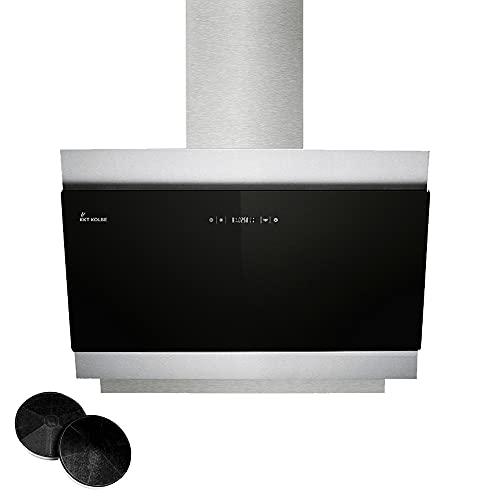 KKT KOLBE Campana extractora campana de pared   80cm   acero inoxidable cristal negro extra silencioso iluminación LED   4 niveles control táctil apagado automático   BICOLORE806S