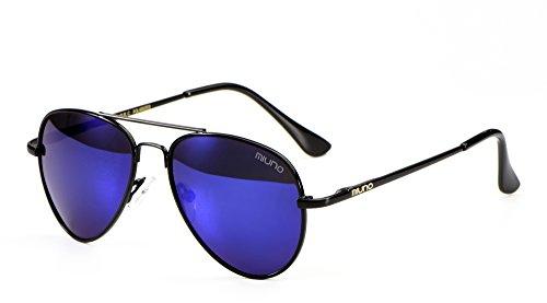 Miuno Kinder Sonnenbrille Metalgestell Pilotenbrille für Jungen und Mädchen mit Etui 4025k (Blauverspiegelt/Schwrazgestell)