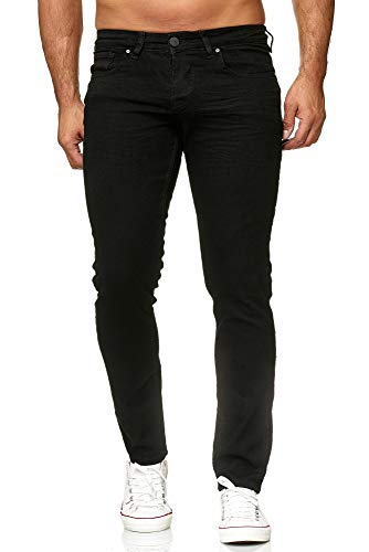 Elara Herren Jeans Slim Fit Hose Denim Stretch Chunkyrayan 16533-Black-30W / 32L
