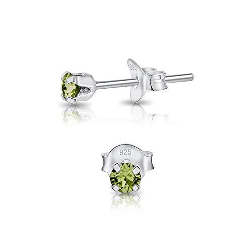 DTPsilver - Winzige Ohrringe 925 Sterling Silber mit Kristallen von Swarovski® Elements Runde Sehr kleine Ohrstecker - Durchmesser 3 mm - Farbe : Peridot