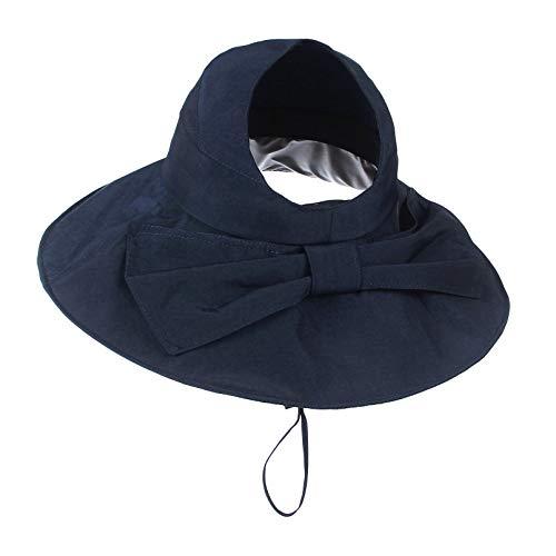 GEMVIE Sombrero de Pescador para mujer Verano Playa Ala Ancha Viseras Gorras de Pesca Lluvia,Protector del Sol (Marino)