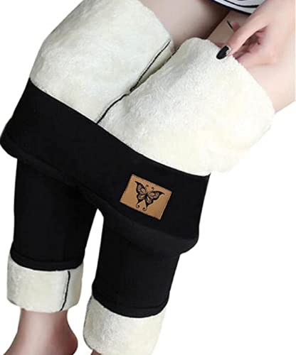 AYEMOY Sherpa Fleece Lined Warm Leggings, Wool Lined Leggings for Women, Women's Winter Warm Fleece Lined Leggings - Thick Velvet Tights (S,Black)