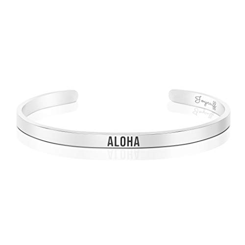 Joycuff Aloha Bracelets for Her Summer Jewelry for Women Mantra Cuff Dainty Bangle Stainless Steel