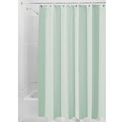 iDesign Fabric Shower Curtain, Mold- and Mildew-Resistant Water-Repellent Bath Liner for Master Bathroom, Kid's Bathroom, Guest Bathroom, 72' x 72', Seafoam Green