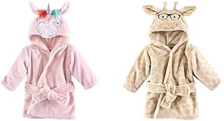 Hudson Baby Girl Plush Animal Face Bathrobe 2-Pack, Blue Whimsical Unicorn Nerdy Giraffe