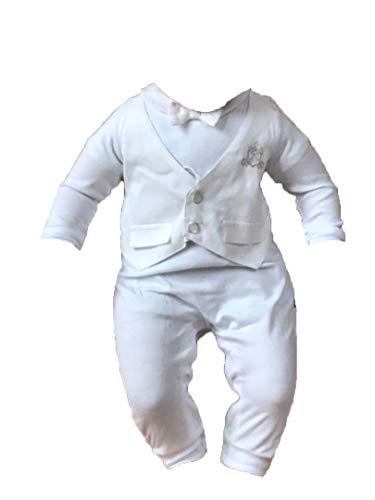 Bembi Taufanzug Taufstrampler Overall Weiß Baumwolle Festanzug (62 (3-6M))