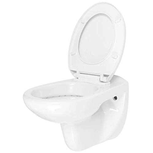 mewmewcat Toilette avec Siège Cuvette WC Suspendu Toilette Murale avec Fermeture en Douceur Céramique Blanc 36 x 54 x 38,5 cm (l x P x H)