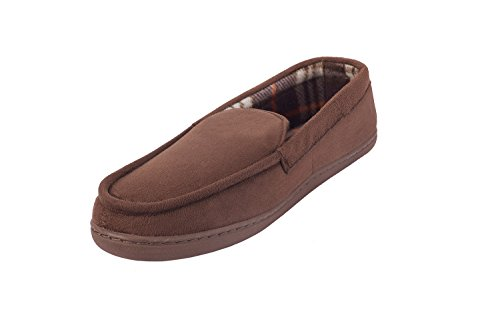 Men's Memory Foam Moccasin Slippers - Best Indoor and Outdoor Vamp with Checkered Lining House Shoes (9.5-10.5 M US Men, Brown)