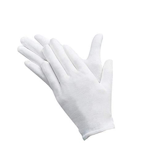 Baumwollhandschuhe Weiß,12 Paar Baumwolle Handschuhe Cotton Gloves,Care Schutzhandschuhe,Größe M,LBequem und Atmungsaktiv, für Hautpflege, Schmuck Untersuchen, Tägliche Arbeit usw