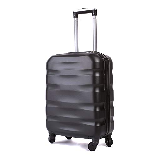 55x40x20cm Lightweight Ryanair Maximum Size Carry On Hand Cabin Luggage Suitcase,Bagaglio a Mano Unisex, (55cm-31.5L) (Black)