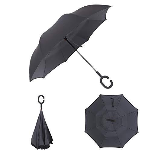 ZXDBK Omgekeerde Paraplu, met C Vorm Handvat Dubbele Laag Omgekeerde Paraplu, Winddichte Inside Out Zelfstaande Auto Paraplu Handen Gratis Zonnige en Regenachtige Dag