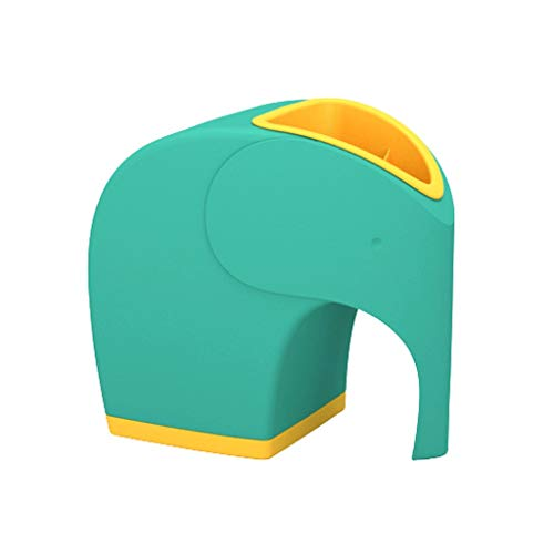Soporte creativo para bolígrafos con forma de elefante 2 en 1, soporte multifuncional para bolígrafos, caja de pañuelos/almacenamiento para decoración de escritorio,(color verde)