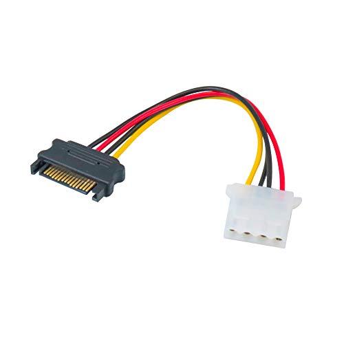 Molex - Cable Adaptador de SATA a Molex de 4 Pines Hembra a 15 Pines Macho SATA (6 Pulgadas)