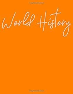 World History: Large College Ruled Lined School Subject Notebook with Cute Cover Design in Orange