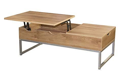 Happy Home Lift Top Couchtisch mit verstecktem Fach und Schubladenablage, Sofa Tee Beistelltisch Schreibtisch mit Verstellbarer Tischplatte für Wohnzimmer, Büro, Zuhause