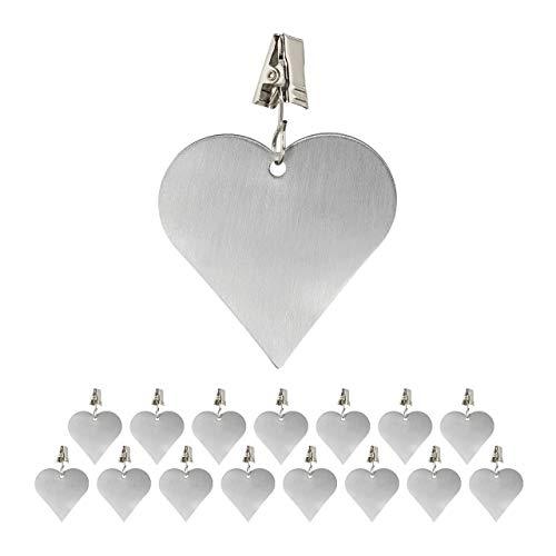 Relaxdays 16 x Tischdeckenbeschwerer, Tischtuchbommeln zum Beschweren, Tischtuchgewichte Herz, In- & Outdoor, Edelstahl, Silber