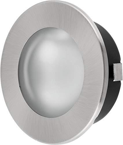 Spot encastrable 2 en 1 ultrafin, ampoule G4, 12 V, métal brossé, compatible avec les prises de 60 mm, couvercle en verre mat et transparent, diamètre de montage : 60 mm, profondeur : 20 mm