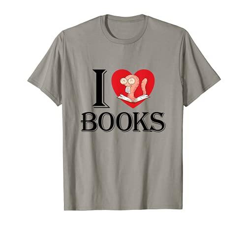 I Love Books Lindo libro de Libros Lectura Dibujos Animados Regalo Divertido Camiseta
