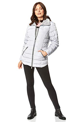Roman Originals Women Padded Parka Coat Ladies Puffer Quilted Bubble Jacket Autumn Winter Waterproof Rainproof Wind Resistant Thermal Fitted Puffa Faux Fur Trim Concealed Hood - Light Grey - Size 14