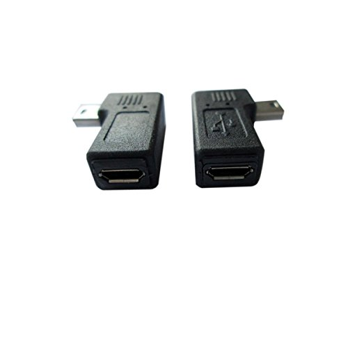 AKOAK USB 2.0 Adapter Plug?1 Pair 90 Degree Left and Right Angle Mini USB Male to Micro USB Female Connector Adapter