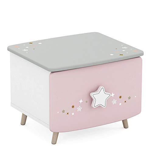habeig Nachtkommode Himmelssterne #442 rosa/weiß Echtolz + MDF Mädchen Kinderzimmer Nachttisch Nachtkonsole Nachtschrank Nachtkästchen