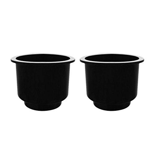 Inzopo - Juego de 2 vasos de plástico empotrables para barco marino y caravana (negro)