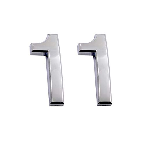 2.75 Inch Adhesive House Numbers, Mailbox Numbers, Street Door Numbers, Self-Stick Address Signs for Apartments, Double Silver Number 1