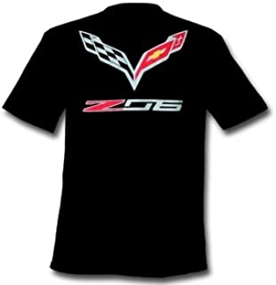 C7 Corvette Stingray Z06 with Crossed Flags T-shirt : Black (X-Large)