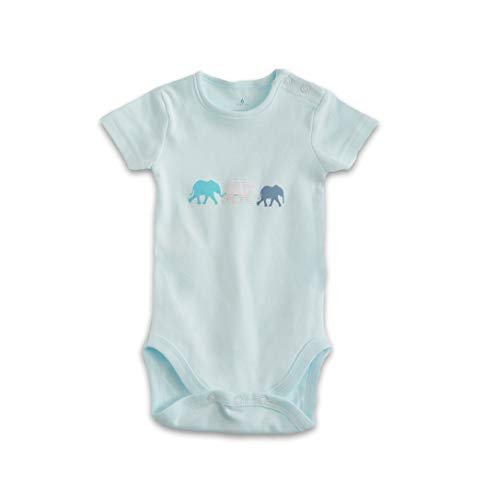 Sämann Baby Body Kurzarm Strampler 3er Pack Baumwolle Unisex, 0-6 Monate, Frühling, Sommer, Winter (hellblau)