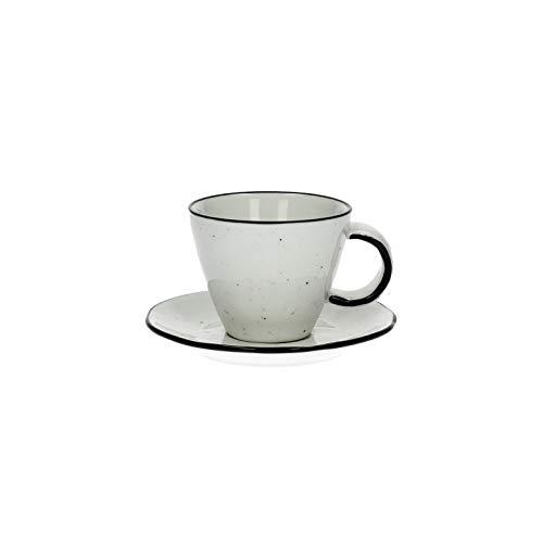 Lot de 12 tasses à expresso fabriquées à la main avec soucoupe Basil en porcelaine aspect émail, 12 pièces